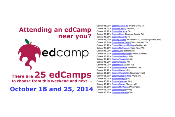 """25 EdCamps Over the Next Two Weekends"" image by @aforgrave from edCamp.wikispaces.com"